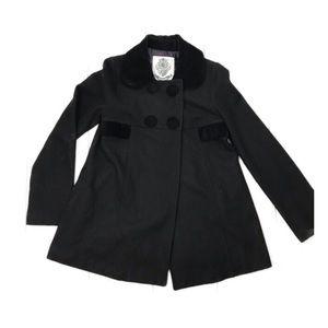 BB Dakota Black Wool Blend Velvet Trim Pea Coat